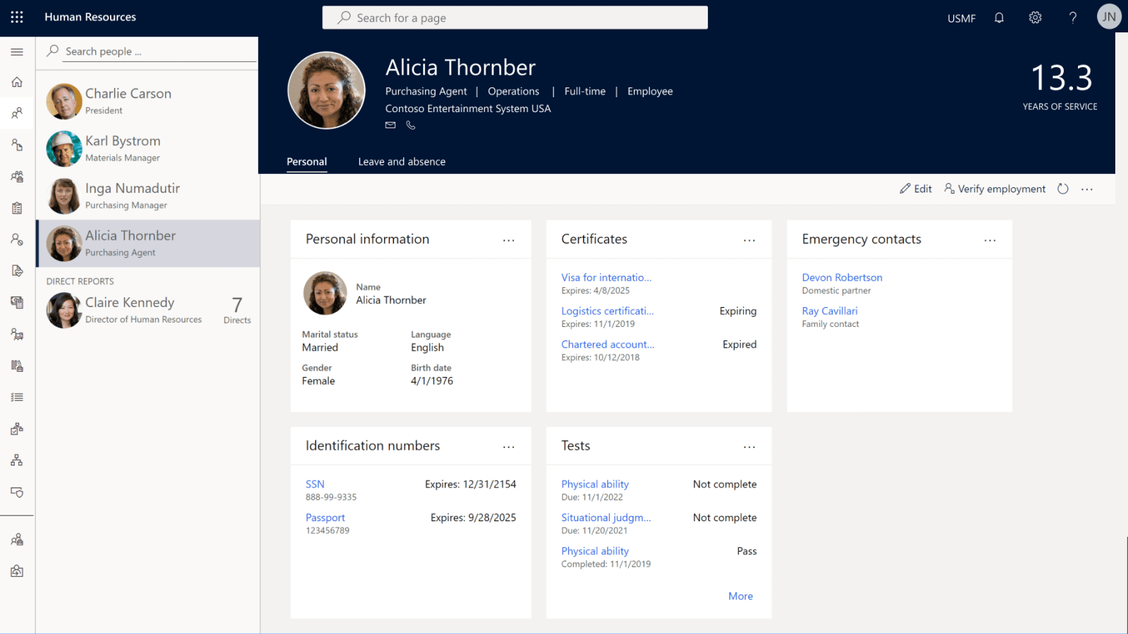 Visualización de Dynamics 365 Human Resources