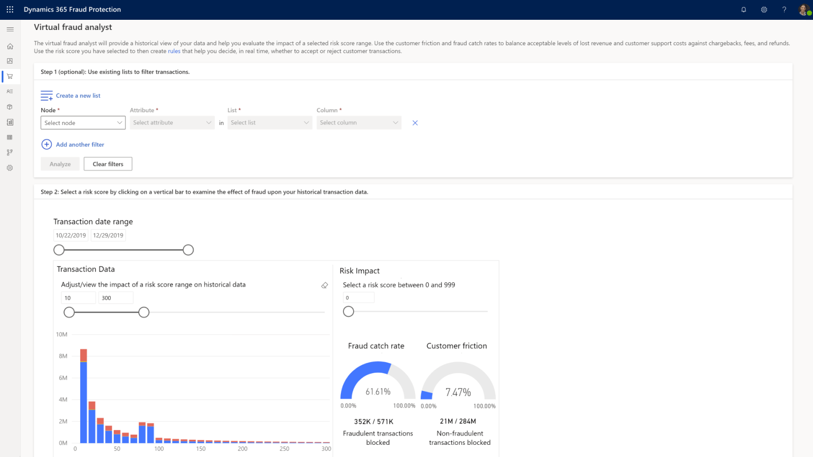 Visualización de Dynamics 365 Fraud Protection