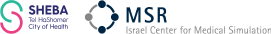 Logo van Sheba Tel HasHomer City of Health en MSR Israel Center for Medical Simulation.